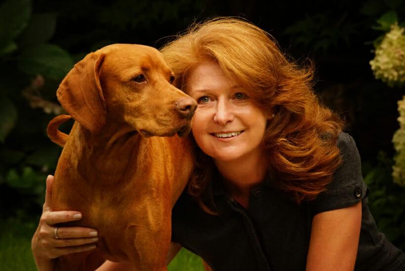 Maggie Malgorzata Biernacka with her dog Rudi